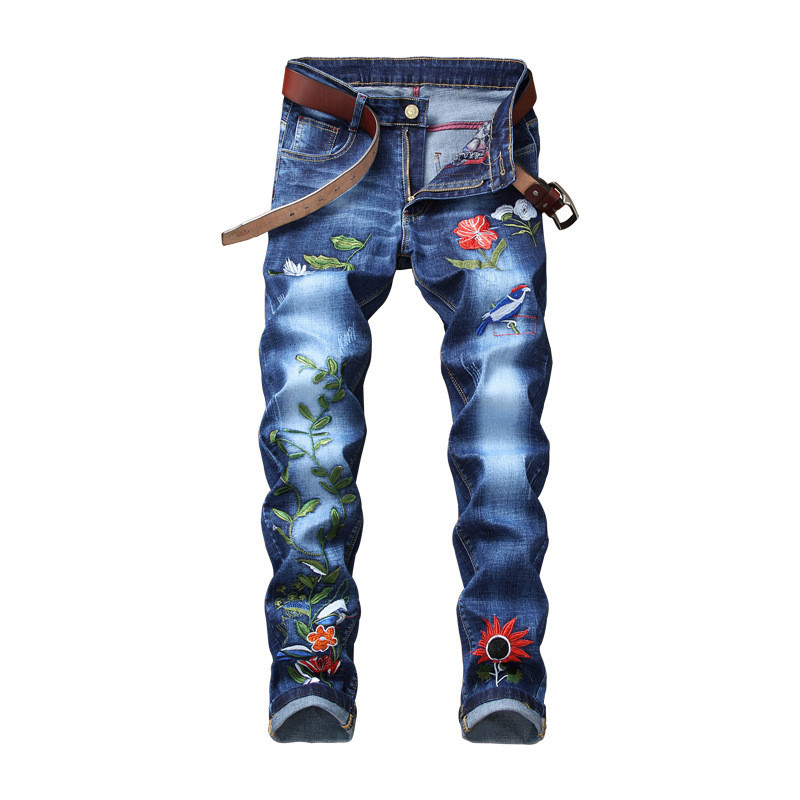 Newsosoo Fashion Men Floral Embroidered Jeans Straight Stretch Denim Trousers Pants For Man With Flower Embroidery Size 28-38