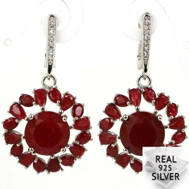 Real 8.5g 925 Solid Sterling Silver Luxury Flower Shape Blood Ruby CZ Womans Earrings 40x20mm