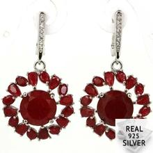 Real 8.5g 925 Solid Sterling Silver Luxury Flower Shape Blood Ruby CZ Womans Earrings 40x20mm