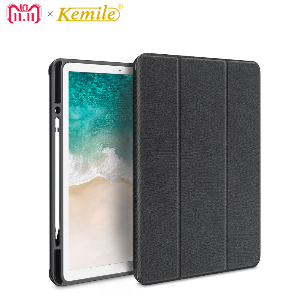 Kemile Case For ipad Pro 12.9 Drop resistance TPU+PU W Pencil Holder Smart Auto Sleep Wake Cover For iPad Pro 12.9 inch Case стоимость