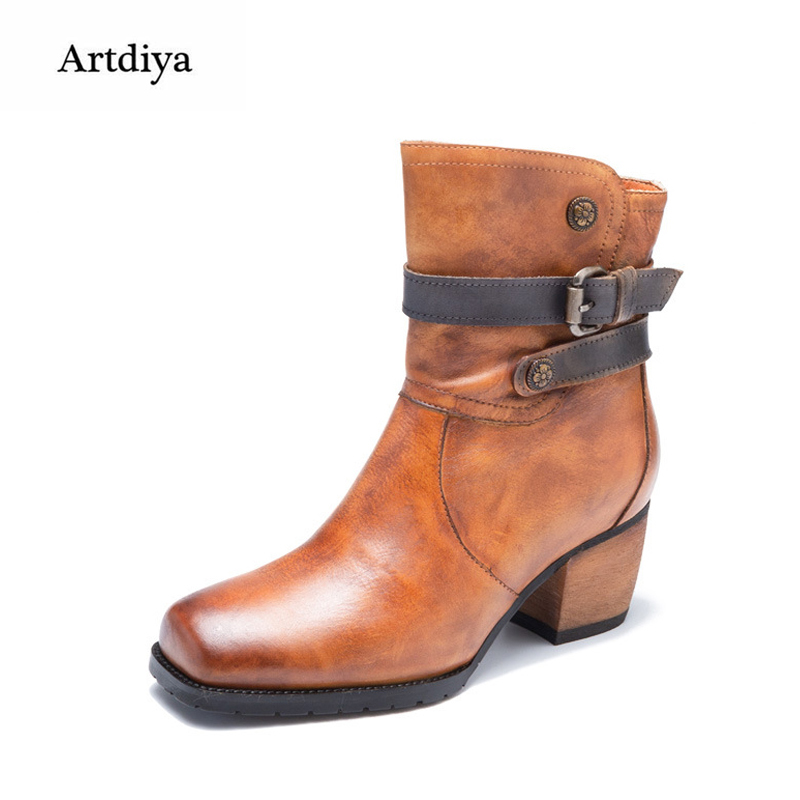 Artdiya Original New Retro Genuine Leather Women Boots Buckles High Heels Martin Boots Handmade Cowhide Ankle Boots T58531-5 цены онлайн