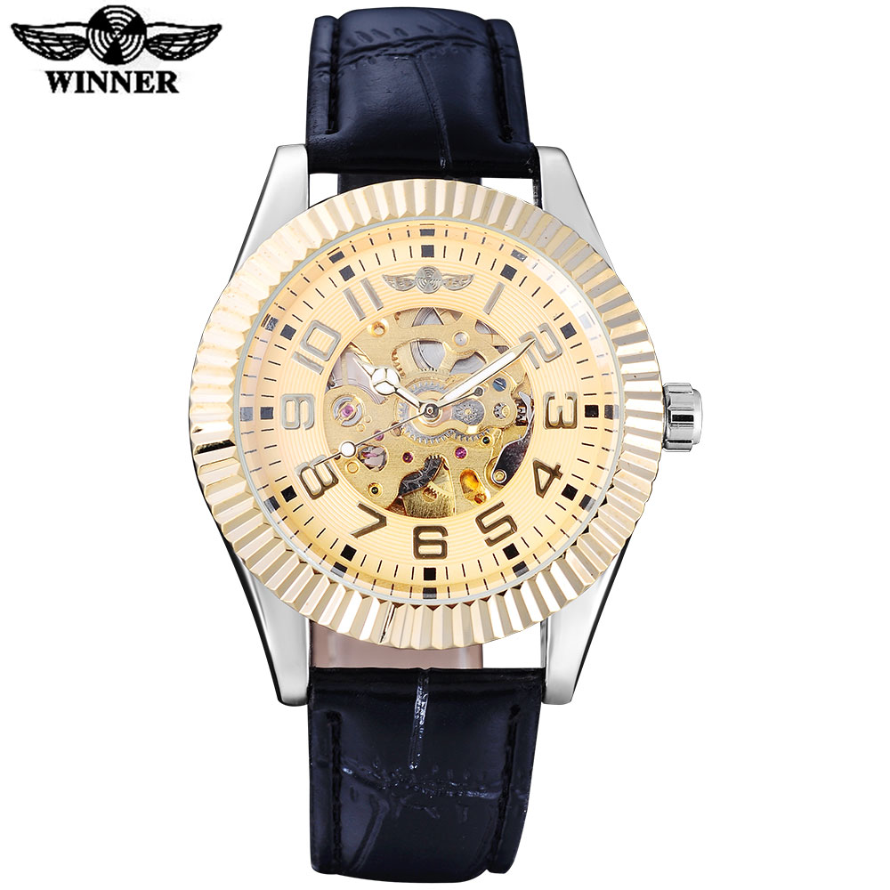 WINNER fashion men mechanical watches leather strap casual brand men's automatic skeleton gold case watches relogio masculino winner fashion men mechanical watches leather strap silver case new casual brand analog automatic wristwatches relogio masculino