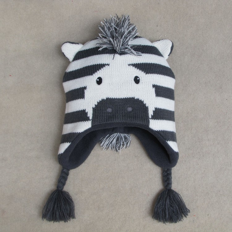 Baby Boys Winter Warm Hats Cartoon Zebra Pattern Caps Kids Knitted Caps Ear Flaps Beanies Children's Girls Cute Animal Sckullies 10