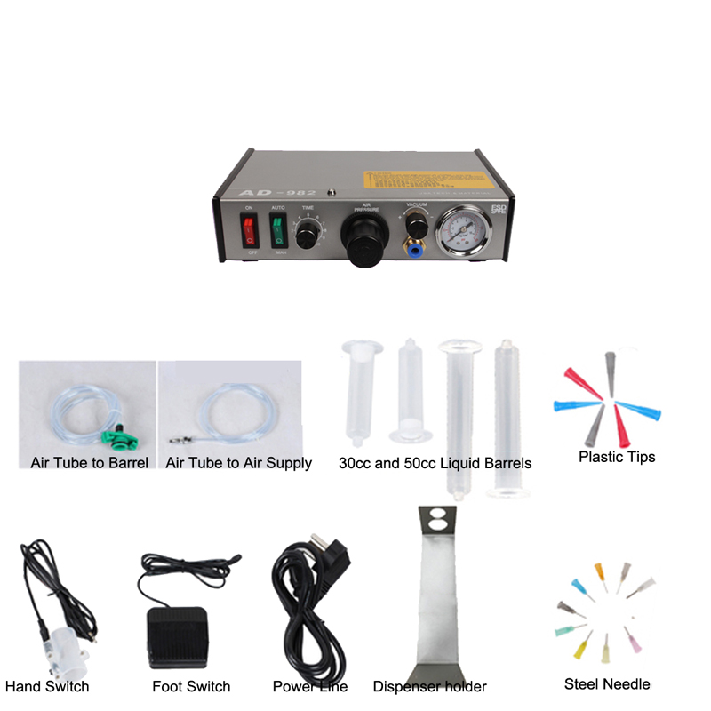 1-78 PSI Semi-Auto Glue Dispenser 110V AD-982 PCB Solder Paste silica gel Liquid Adhesive Controller Fluid Dropper 11 11 free shippinng 6 x stainless steel 0 63mm od 22ga glue liquid dispenser needles tips