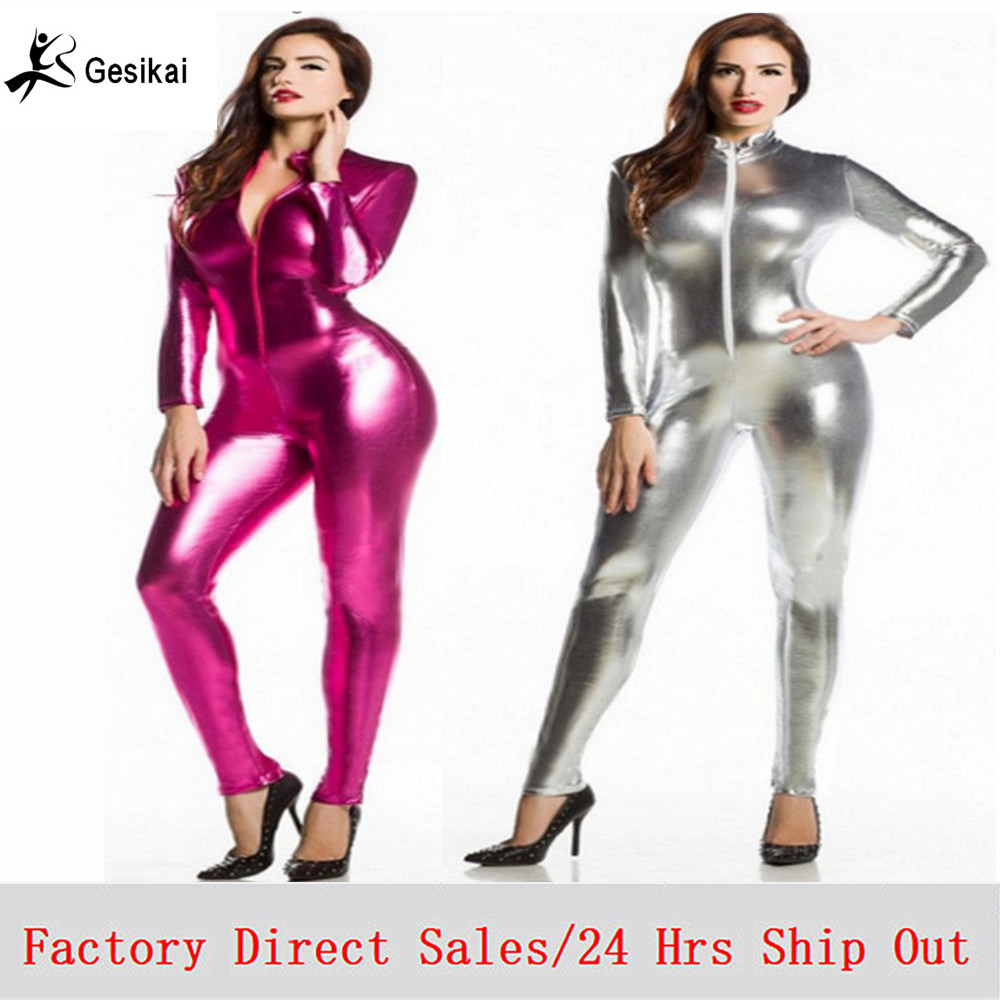 Women Latex Suit Golden Silver Red Shiny Metallic Tights Gold Zentai Suit Full Body Unitard Custom Skin Bodysuit Zipper Front