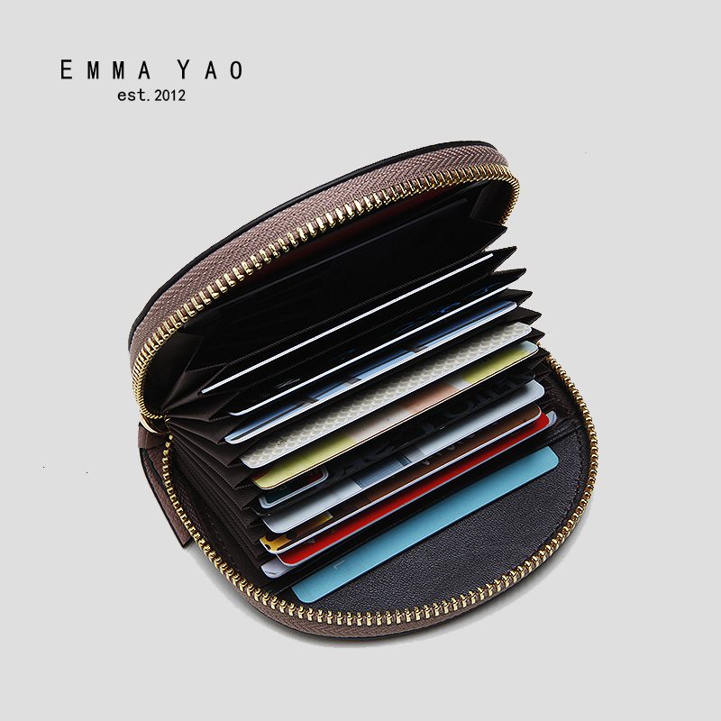 EMMA YAO genuine leather women wallets small zipper purse fashion leather coin purses