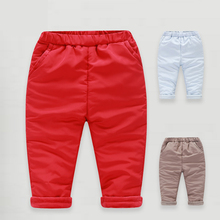 YiErYing  Baby Pants Autumn Winter Boys Girl Leisure Cotton Pure Colour Warm Thicker Newborn Trousers