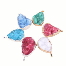 1pc Water Drop Necklace Pendant Natural Gem Stone Quartz Crystal Cluster DIY Necklace water drop fake crystal ribbon necklace