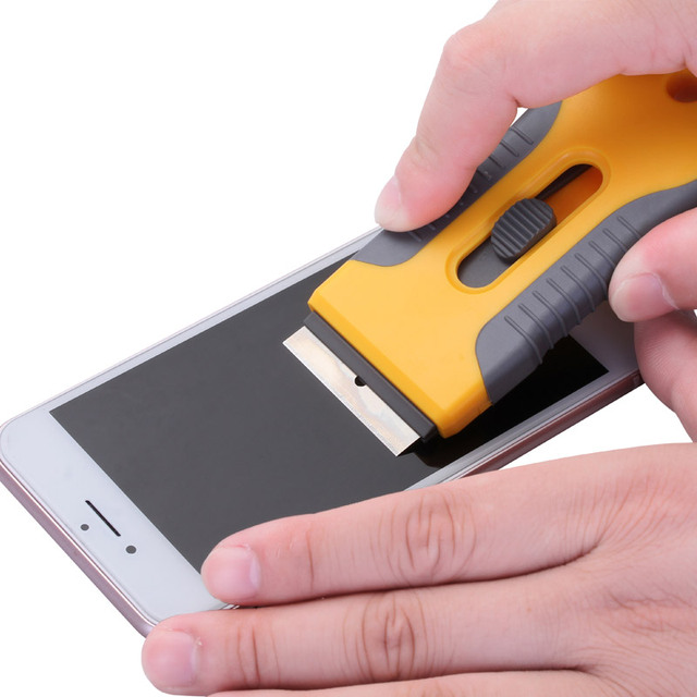 t l phone cran en verre enlever la colle couteau outils de nettoyage en acier inoxydable. Black Bedroom Furniture Sets. Home Design Ideas