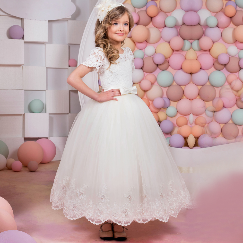 2017 New Flower Girl Dresses Lace Up Appliques O-neck Short Sleeves Lace Up First Communion Birthday Dresses Vestidos Longo Hot original access control card reader without keypad smart card reader 125khz rfid card reader door access reader manufacture