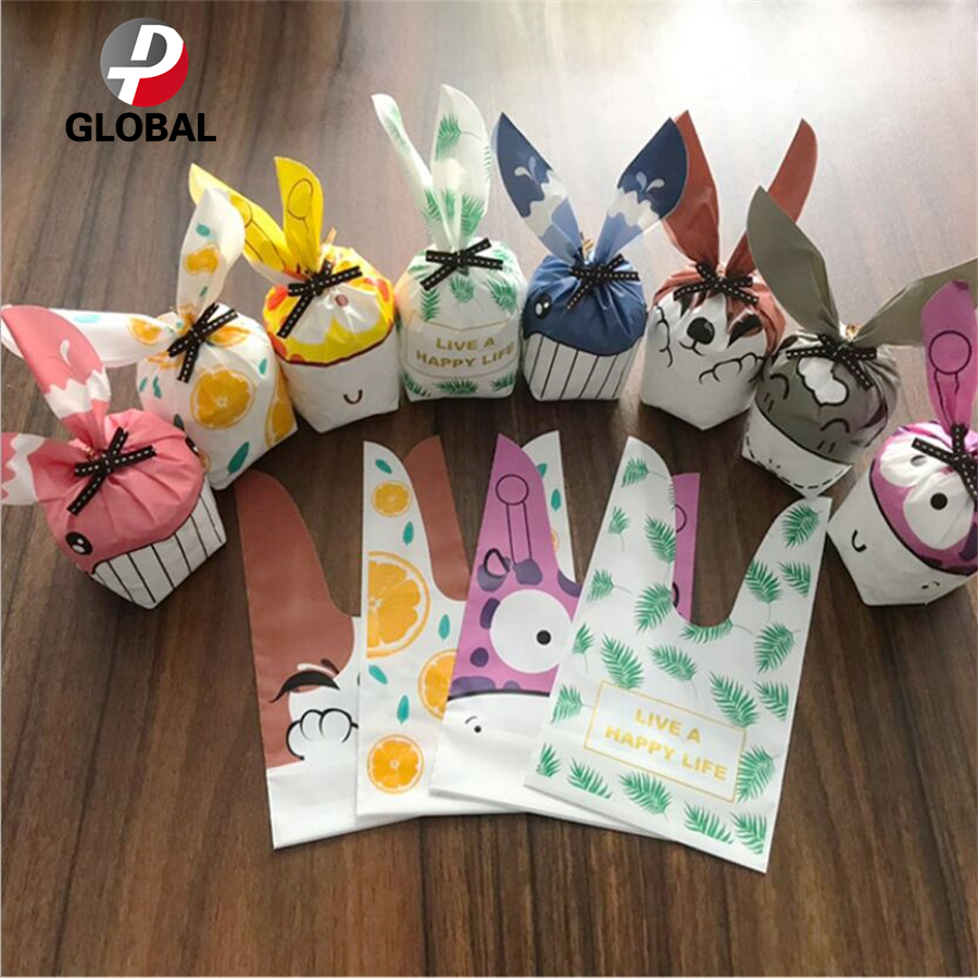 50PCS Rabbit Ear Cookie Bags Plastic Candy Biscuit Wrapping Treat Gift Bag LIN