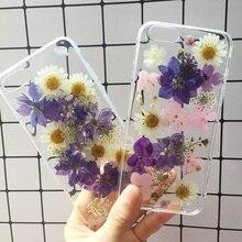 Красивые реальные спрессованные Цветы Чехол для Телефона iPhone XR X XS Max 6 6 S Plus 7 8 цветочный прозрачный чистый силикон чехол Coque Capa