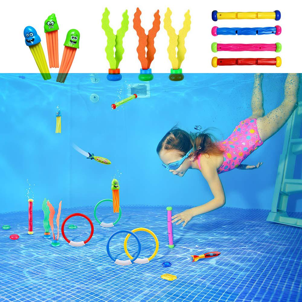 Underwater Swim Pool Diving Toys 33 Pcs Swimming Dive Toy Sets Diving Rings Sticks Octopus Torpedo Bandits Fish Grass For Kids
