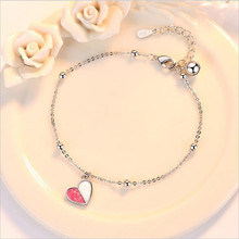 TJP New Arrival Heart Pink Bracelets Jewelry For Women Party Bijou Top Quality 925 Sterling Silver Girl Accessories