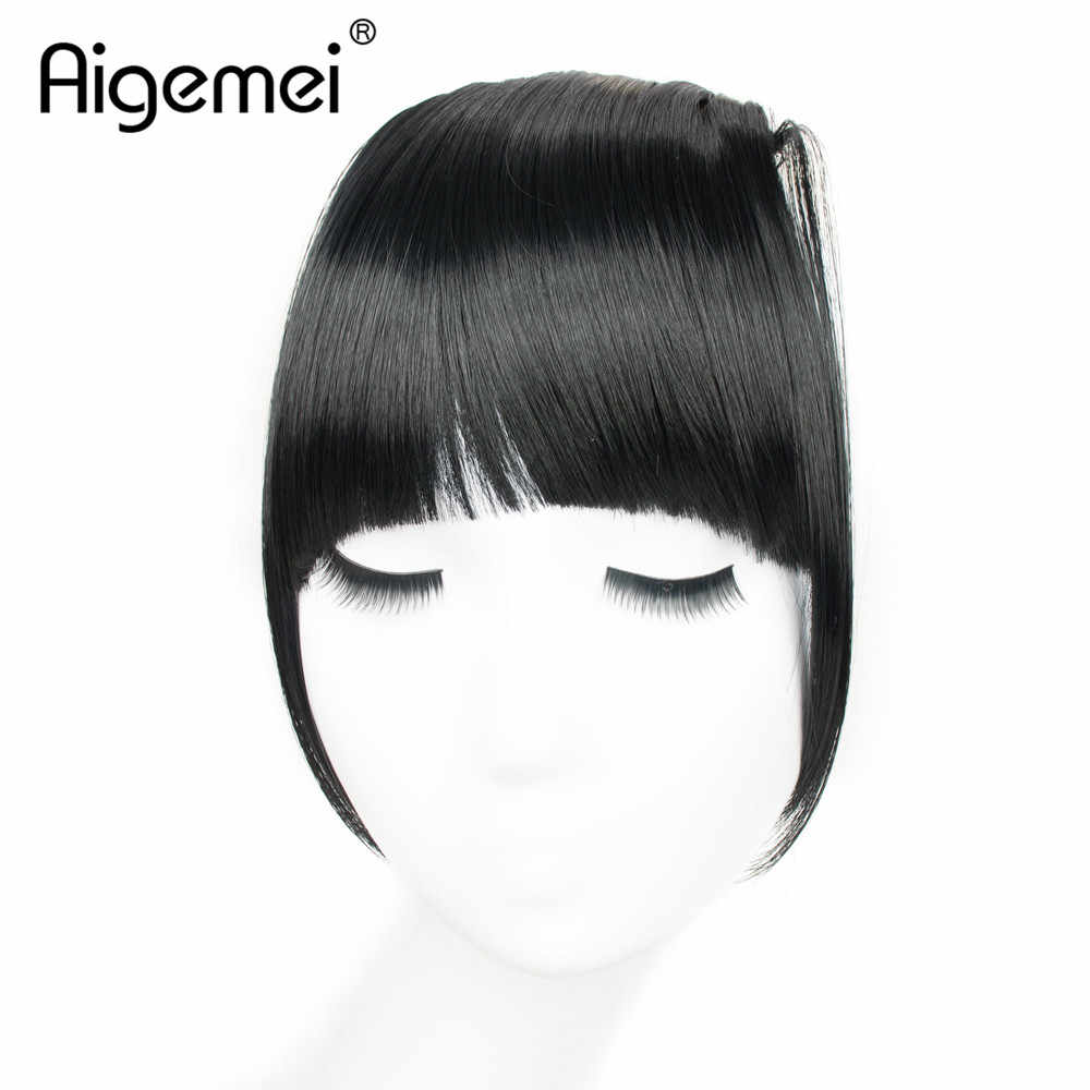 Aigemei Blunt Bang Black Brown Blonde Fake Fringe Clip In Bangs Hair Extensions With High Temperature Synthetic Fiber 6 Inch