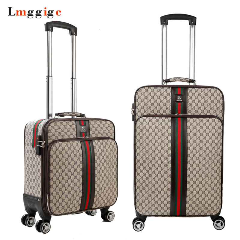 162024 inch Luggage Suitcase bag,Waterproof PU leather Travel Box with Wheel ,Rolling Trolley case 12 inch pu leather small suitcase floral decorative box with straps for women
