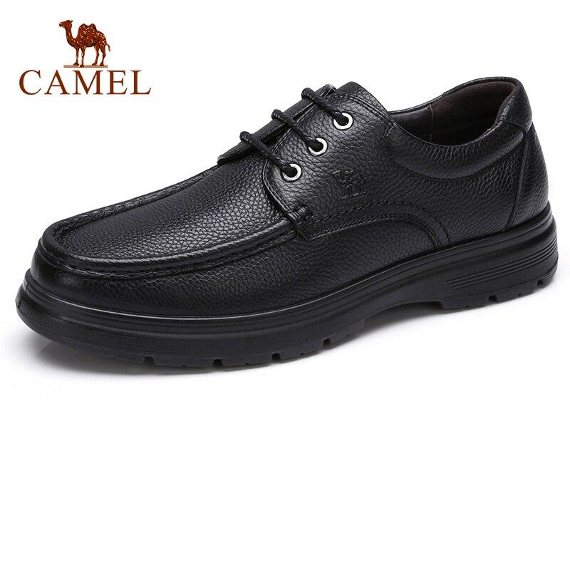 キャメルビジネスの男性の靴の秋カジュアルレースアップ快適なウェアラブル本革フラットクッションノンスリップ父靴  グループ上の 靴 からの 正式な靴 の中 1