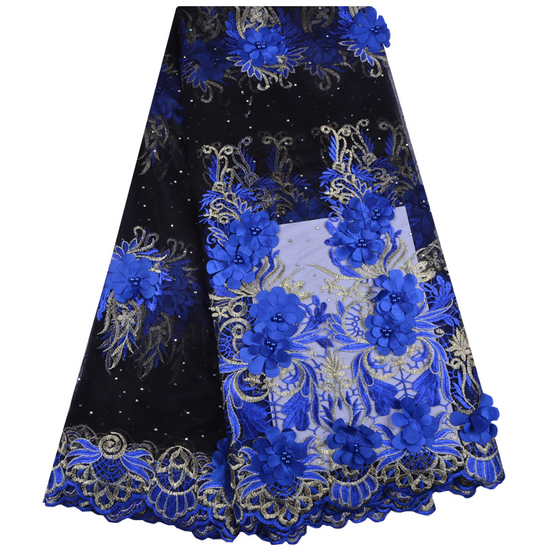 New Design African Lace Fabric With Beads Blue Lace Fabric 3D Flower High Quality For Nigerian