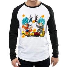 Long Sleeve Dragon Ball Super T Shirt Fashion Mens Logo T-shirt Tops Tees tshirt White Full