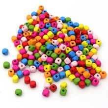 300pcs/lot Mixed Color Square Cylindrical UFO Wood Beads Loose Spacer For Jewelry Finding DIY Handmade Earrings Accessories