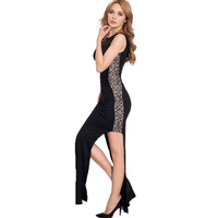 Chất lượng cao cộng với kích thước ren đen váy maxi thanh lịch bodycon dress xem qua buổi tối bên mặc hollow out ren sexy phụ n