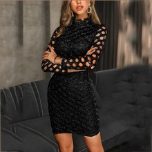 Women Hollow Out Glitter Bodycon Dress Sheath Streetwear Black Mini Dress Stand Autumn Long Sleeve Party Dress long sleeve mini sheath dress