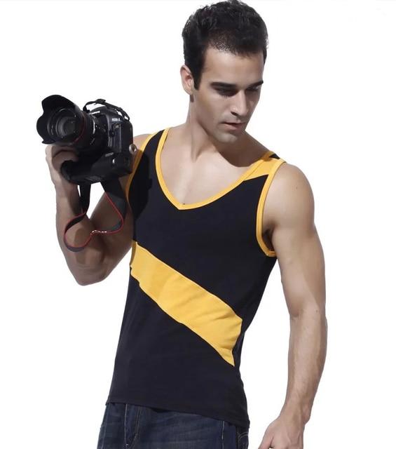 BOYTHOR Лето мужской жилет тонкий основной майку мужской облегающие хлопок жилет V-образным Вырезом фитнес-черный желтый цвет блока