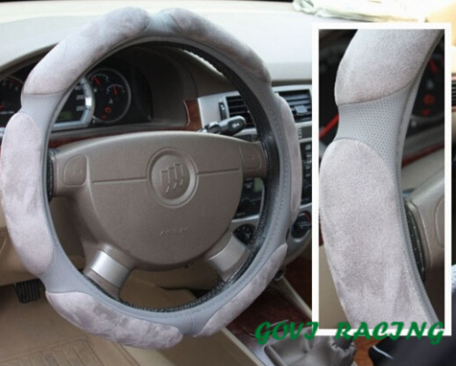grey Steering wheel cover with suede car steering leather cover coprivolante in pelle for passat b5 car styling skoda octavia