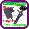 100 pcs Intelligent IC Solutions For Android Tablet Win 2.5mm 5V 2A EU Power AC DC Adapter Wall Charger with cable