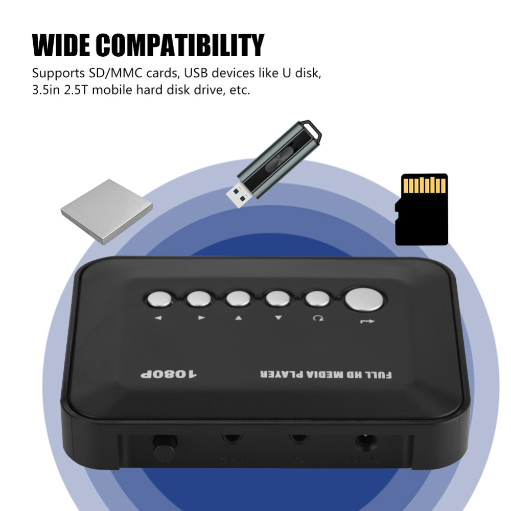 HDMI/AV/YPbPr Output HD Media Player 1080P 100Mbps Decoding Rate HDMI Media Player for EU Plug ...