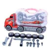 Assembly Big Rig Children Container Truck Toy Removable Tires Maintenance Tool Box Kids Scale Model Vehicle Car Styling Kit