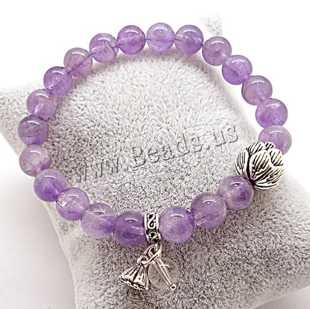 Presentes mulheres jóias acessórios contas pulseiras Strand ametista pulseira com prata fevereiro Birthstone charme pulseiras mulheres