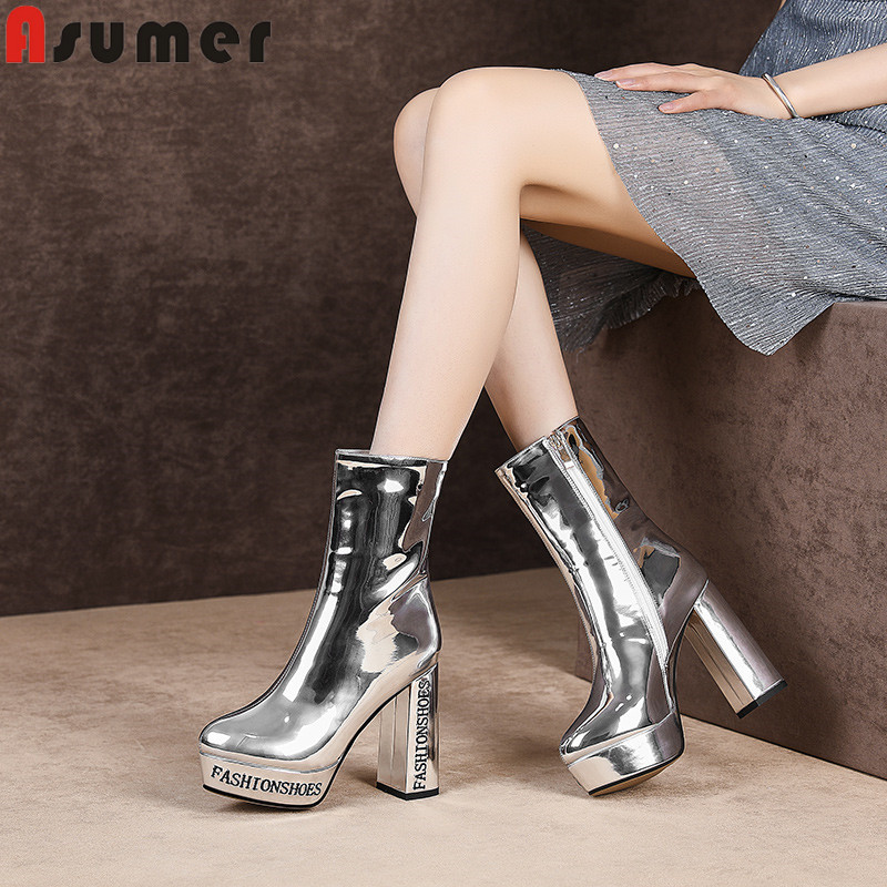 ASUMER 2019 new mid calf boots zip autumn winter boots round toe platform square high heels shoes elegant women boots big sizeASUMER 2019 new mid calf boots zip autumn winter boots round toe platform square high heels shoes elegant women boots big size