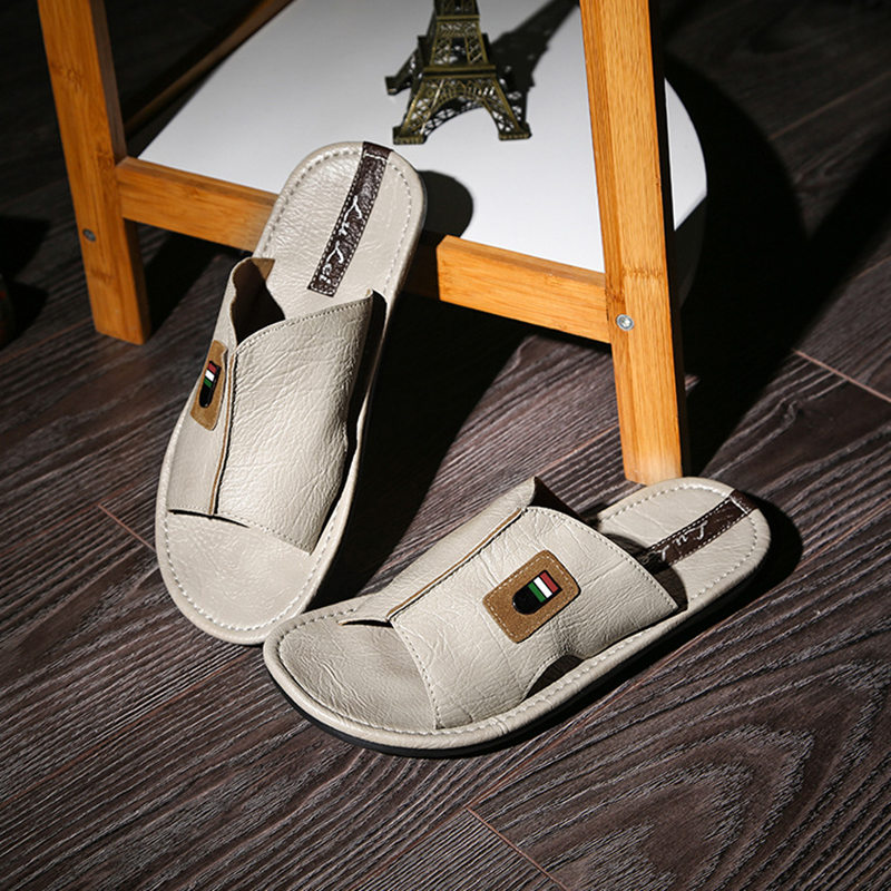 25414f1bd Hot Selling Summer Cool Men PU Leather Flip Flops British Style Boardered  Beach Sandals Male Slippers Zapatos Hombre-in Slippers from Shoes on ...