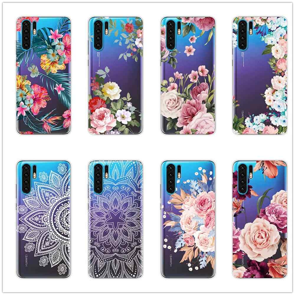 P20 Lite Case for Huawei P30 P20 Mate 20 Pro P10 Lite Clear Soft Phone Cover Huawai Honor 8X Silicone Flower Transparent Coque