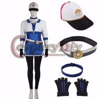 Pokemon GO Female Trainer Uniform Blue Clothes Game Cosplay Costume B002