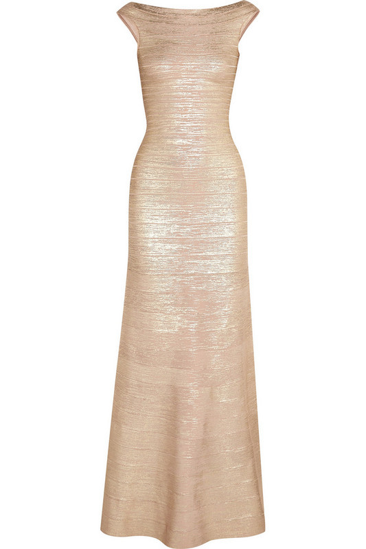 Womens Elegant Metallic Gold Sliver Formal Evening Party Mother of Bride Special Occasion Bodycon Long Maxi Bandage Dress B-67