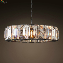RH American Loft Vintage Luxury Squre Crystal Led E14 Pendant Light Hotel Luminaire Led Pendant Lights Hang Lamp Lamparas