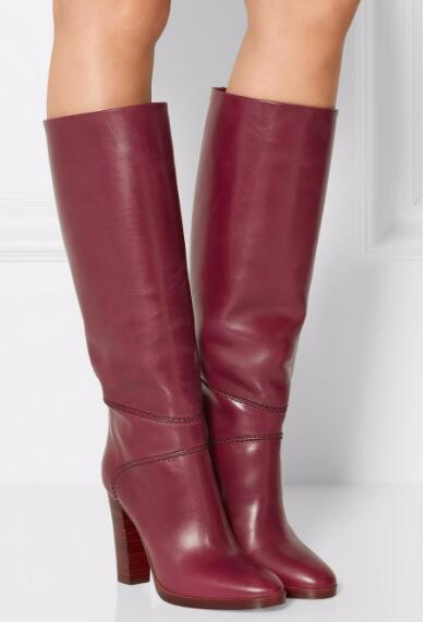 Woman high heel knee-high long boots Fashion spring and autumn super high chunky long boots Winter snow boots Knight boots white high heel knee high long boots for woman ladies solid super high chunky heel half boots round toe fashion boots dress shoe