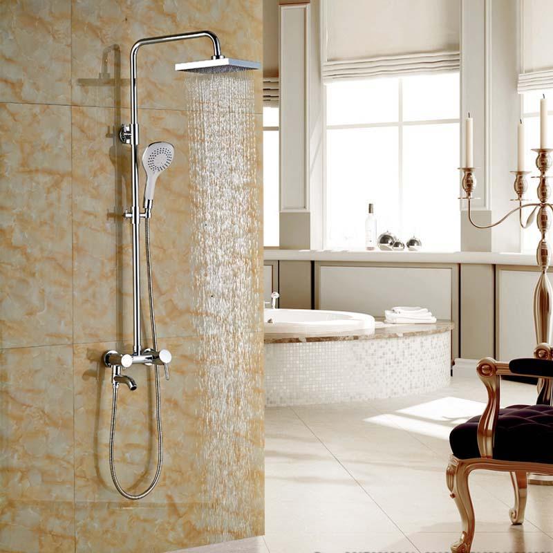 Single Handle Rainfall Bathroom Shower Faucet Bath Shower Complete Set Chrome Finish with Handshower contemporary chrome finish single handle bathroom sink faucet silver