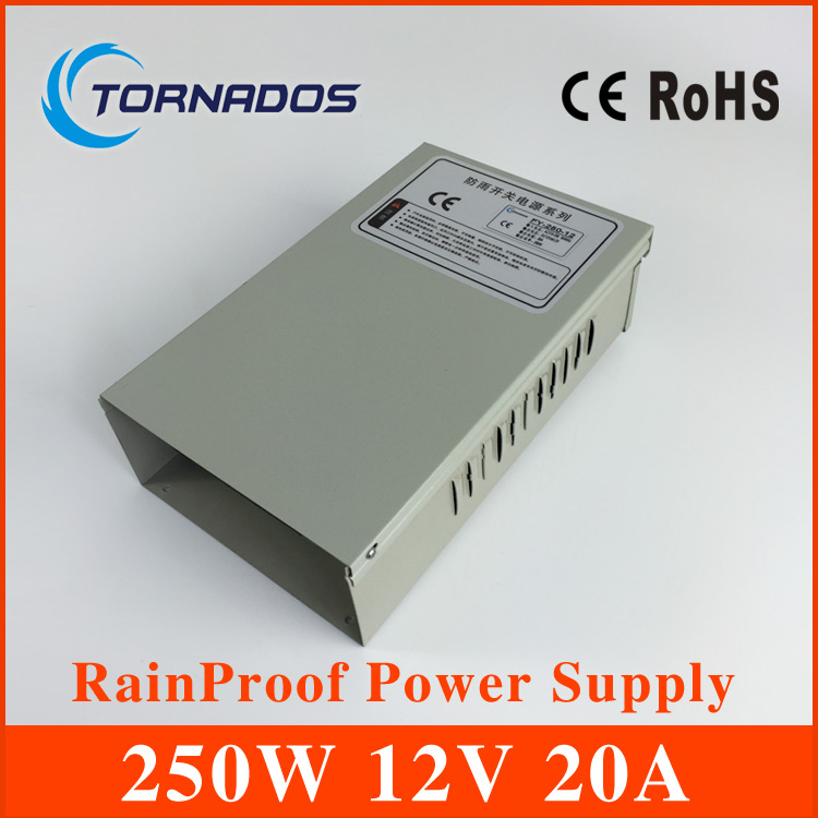CE approved 250w metal case single output reliable rainproof power supply 250w 12v 20A (FY-250-12) hot sale 12 volt switching power source supply rainproof 12v 15 200w fy 201 12 16 5a single output china