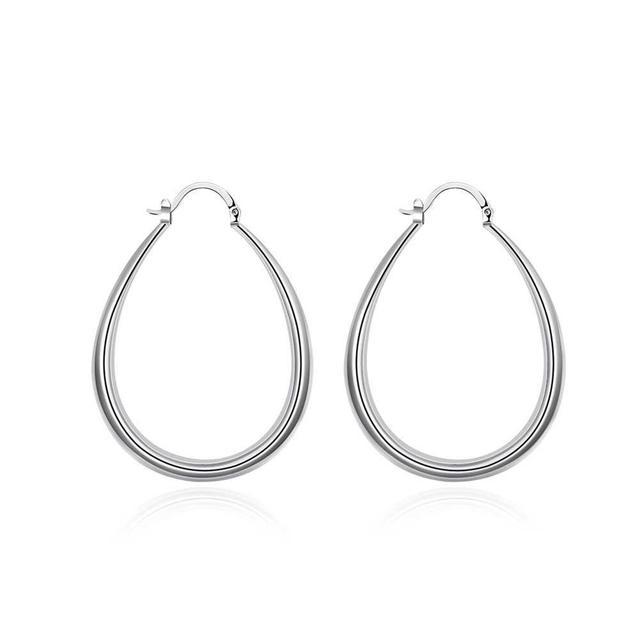 caa2437c4 Trendy Silver Color Geometric Oval Creole Hoop Earrings Casual Piercing  Women Jewelry Cincin Hadiah Sporty Untuk Wanita Bijoux