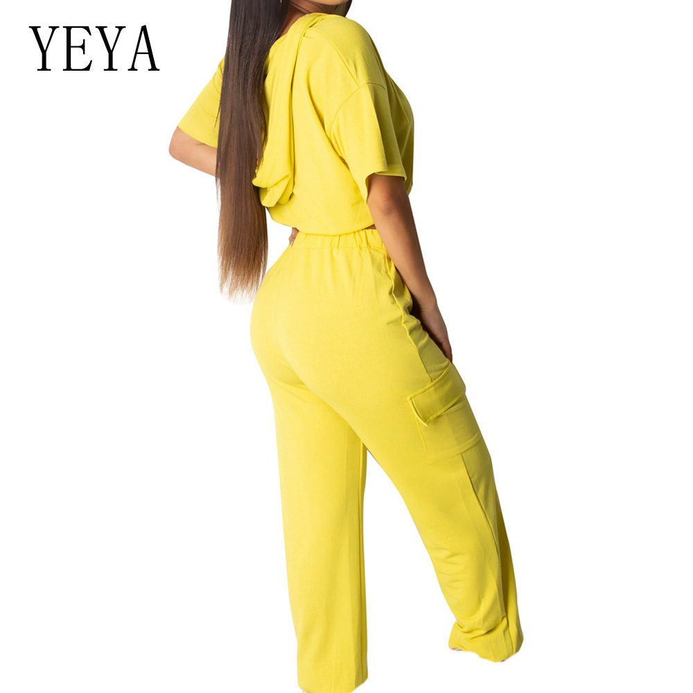 YEYA Casual Two Pieces Set Tracksuit Hoodie Top and Tie up Loose Long Pants Women Summer Sporting Playsuit Leisure Outfits in Jumpsuits from Women 39 s Clothing