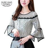 2017 New Arrival Autumn Blouse Female Shirt Office Lady Blouse Slim Shirt Women S Speaker Sleeves