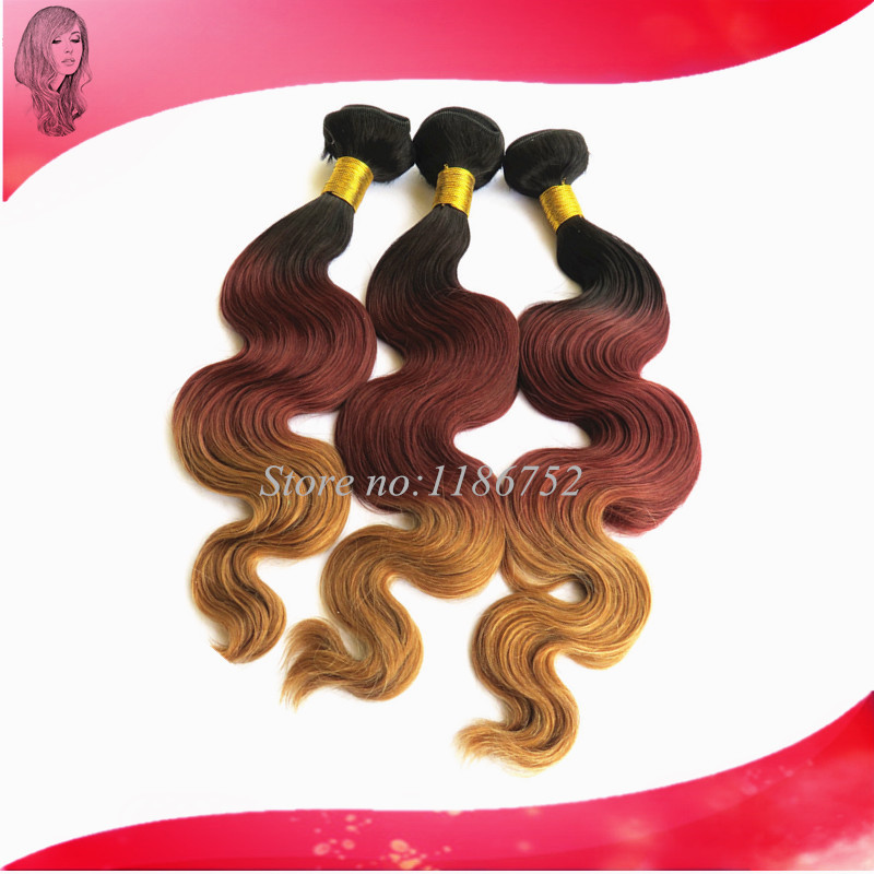 Christmas50 Peruvian Body Wave Ombre Hair Weave 3 Tone Hair Ombre