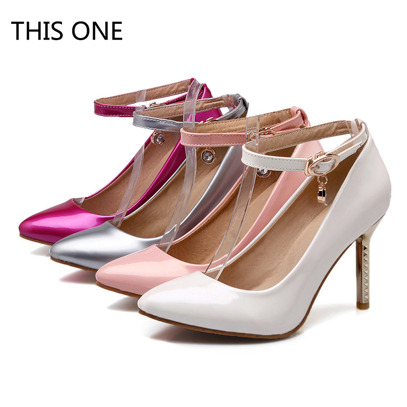 Hot Fashion Buckle Crystals Bling Pumps Women Elegant Thin High Heels Point toe Party Wedding Shoes White Pink Rose Red Silver lacoste поло