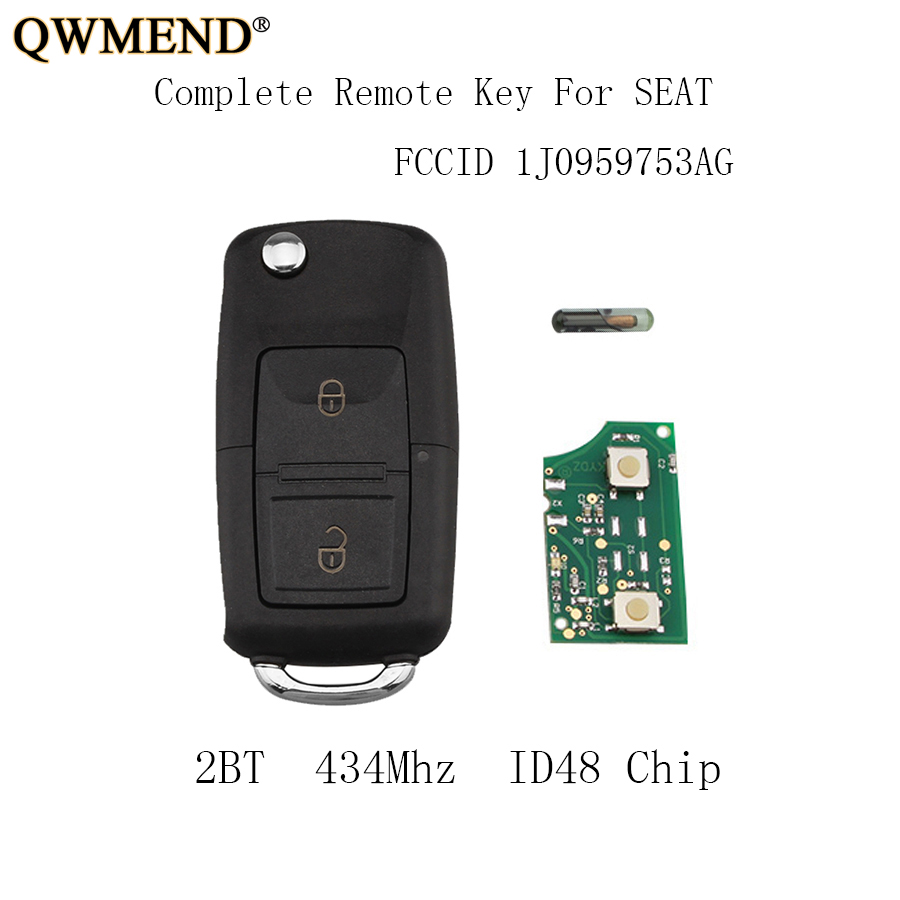 QWMEND 5pcs*Complete Remote Key For SEAT Ibiza Leon Toledo 2002 2008 Car Key Fit Seat 1J0959753AG 434Mhz&ID48 chip HU66 Blade-in Car Key from Automobiles & Motorcycles    1