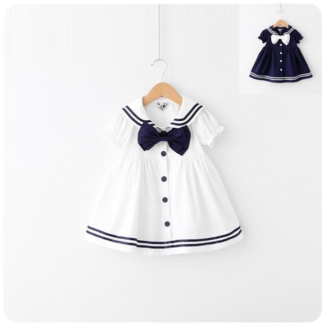 3672ea96e10 Hot sale Children s clothing Baby vest Kids Girls princess shirt Summer  princess dress suit Navy Academy dress 1-2-3-4-5years