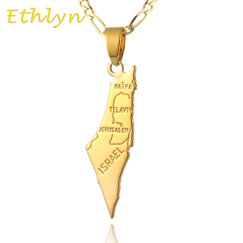 Gold Israel Map Pendant Necklace