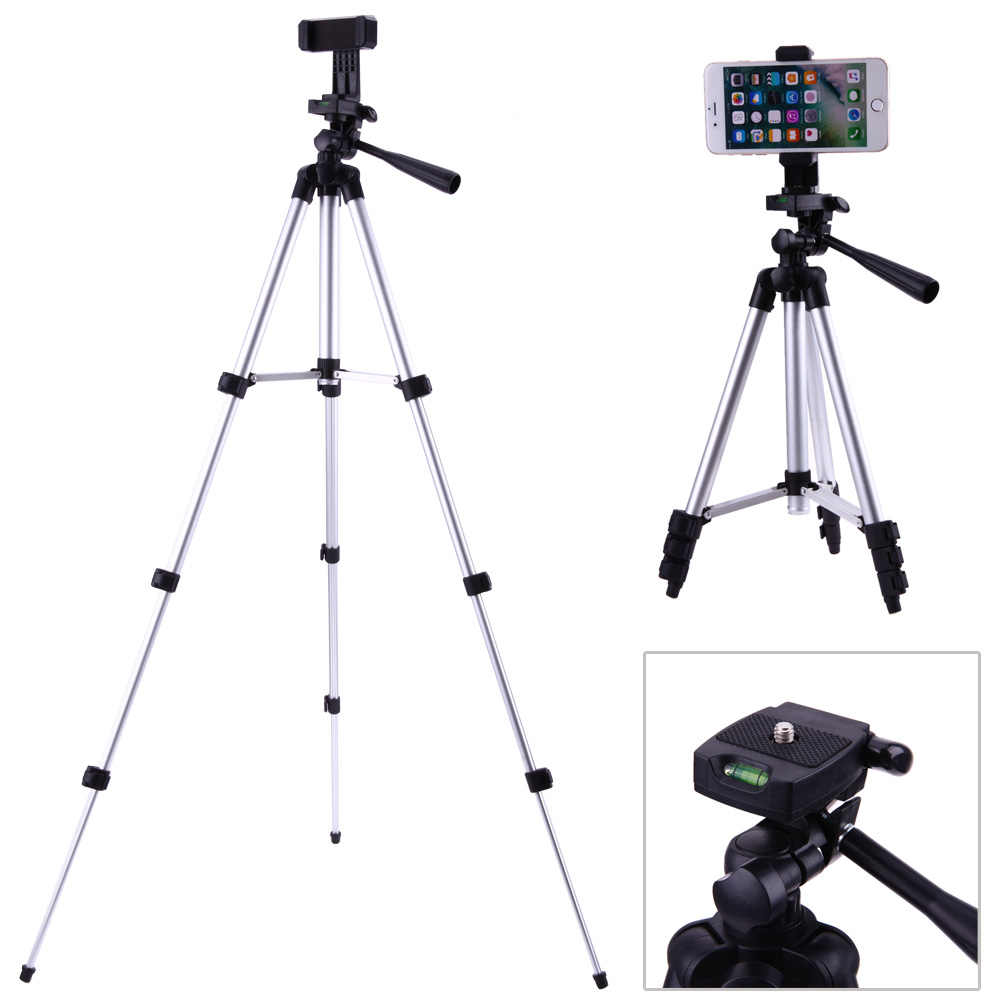 "Professional Foldable Camera Tripod Holder Stand 1/4"" Screw 360 Degree Fluid Head Tripod Stabilizer Aluminum with Phone Holder"